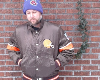 Vintage 80's Cleveland Browns Shain of Canada NFL Professional Jackets Satin Button Up Jacket Made in Canada  Large