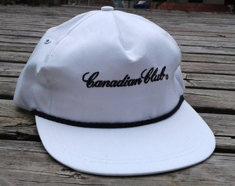 Vintage DEADSTOCK 80's / 90's Canadian Club Whiskey White strapback cap hat