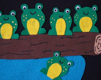 Felt Story - 5 Little Speckled Frogs, Preschool Felt Story, Felt Board Story, Five Little Speckled Frogs
