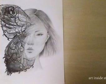 Original pencil drawing, crayon drawing original, fantasy illustration, original pencil sketch