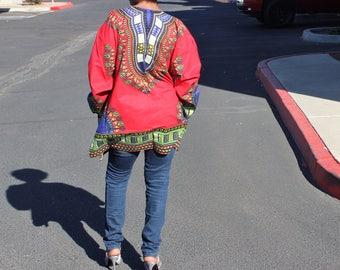 Long sleeve Dashiki Shirt, Long deluxe Dashiki Top, Redi Dashiki Top, dashiki camicia, Long African Print top, tissus Africain, African Top