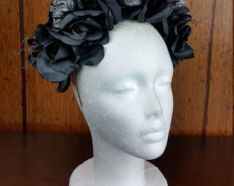 Skull flower head dress *gothic/photoshoot/festival/cosplay/day of the dead