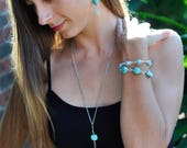 Howlite Turquoise Diamond Shaped Nugget Stone Tribal Native American Inspired Tassel Necklace with a Special Leaf Neck Charm