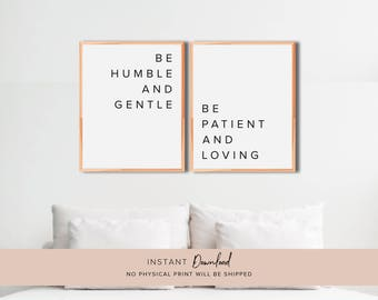 Bible Verse Wall Art, Bible Verse Print, Be Humble and Gentle, Bible Verse, Ephesians 4 2, Scripture Wall Art, Faith Quotes, PRINTTABLE