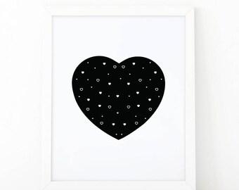 black heart, heart print, Nursery Wall art, heart wall art, nursery decor, Printable art, scandinavian art, love wall art, modern room decor