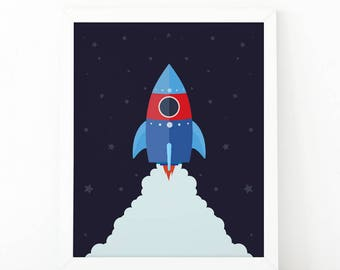 Rocket ship, kids room decor, Instant Download, Nursery Wall Art, boys room decor, Kids wall art, playroom wall art, printable art, kids art