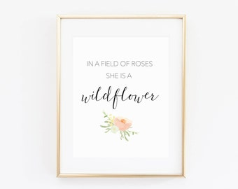 In a Field of Roses Print, Boho wildflower print, Flower nursery, Shabby Chic wall art