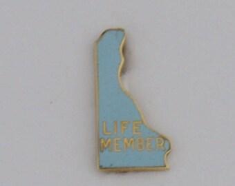 10kt Yellow Gold Estate Enameled Delaware Life Member Pin