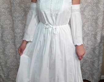 Boho Beach Wedding Dress Hippie Wedding Dress White Cotton