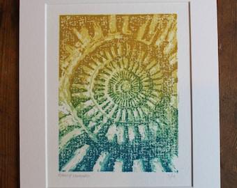 Ammonite Lino Cut Print