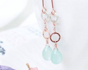 Dainty Aqua Blue Chalcedony Briolette Dangle & Drop Earrings in Rose Gold, Elegant Gemstone Drop Earrings, Spring Jewelry, Minimal  Earrings