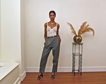 Vintage 80s High waist Trouser Menswear pants 1980s casual tweed plaid Tomboy minimalist Trouser Pleated Wide Leg
