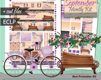 September Monthly Kit, Erin Condren September Monthly View, Erin Condren Planner Stickers, Planner Sticers Printable, cutfiles ST-331