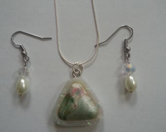 Polymer Clay Cabochon with Pearl earrings