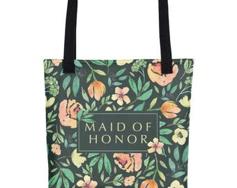 Maid of Honor Floral Tote | Maid Of Honor Tote | Maid Of Honor Tote Bag | Maid Of Honor Gift Ideas | Bridesmaid Tote | Bridesmaid Tote Bag