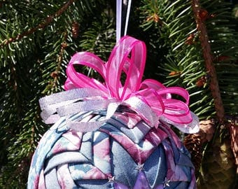 4 Inch Pinks and Teal Quilted Ornament