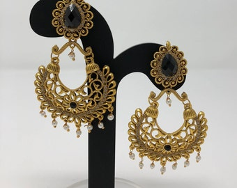 Indian Earrings - Indian Bridal Jewelry - Indian Jewelry - Pakistani Earrings - Antique Gold and Black Earrings - Bollywood Earrings