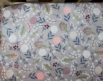 Grey Pink and Navy Wildflower Crib Bedding. Wildflower Baby Bedding. Floral Crib Bedding.