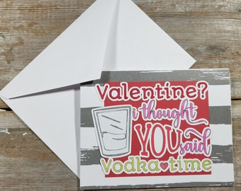Valentine Funny Cards - Drinking Cards - Vodka Gifts - Funny Valentine Card Friend - Bottoms Up - Funny Valentine Card for Him - Valentine