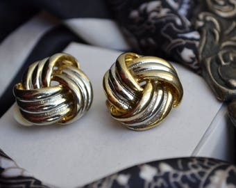 Vintage 1980s Silver, Gold Knot Clip on Earrings