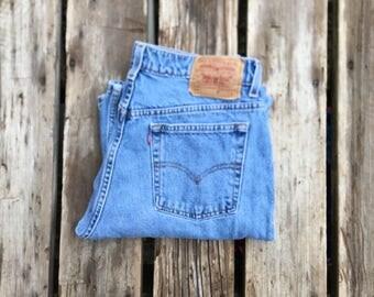 """Levi's 519 32"""" Medium Wash High Waist Red Tab Vintage Jeans"""