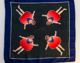 Unusual 1950s Silk Scarf with Masked Belle Epoque Ballerina with Ombré Tutu, 28 inches (71cm) square