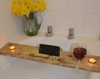 Handburnt Personalised Wooden Bath Caddy - Bath shelf, Bath plank, bath tray gift for her pamper gift spa gift birthday gift
