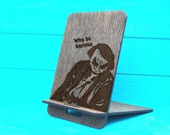 Phone Holder Gift-Docking Station-Personalized Phone Stand-iPhone Stand-Wooden phone holder-Iphone holder-Phone stand laser cut-Joker Stand