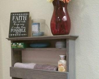 Rustic towel rack with shelf