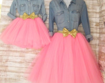 "Mother daughter Matching Dress Set ""Pink"" Knee length tulle skirt, mommy and me tulle skirt , tutu skirts, wedding skirts, plus size"