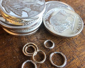 16g septum ring, 16g hoop, 6mm hoop earrings Silver or Gold helix earrings for mens gift 8mm 10mm continuous seamless nose ring Thick hoop