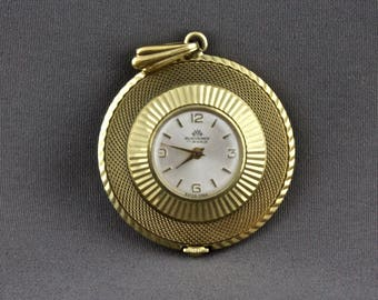 Vintage Round Diamond Cut Ladies Windup Watch Pendant By Bucherer