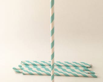 Paper Straws - Paper Straw - Party Supplies - Striped Paper Straws - Tiffany Blue - Robbins Egg Blue - Robins Egg - Tiffany Blue