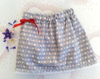 Grey Print Girls Skirt, age 2-3y, Flower & Heart, Girls Clothing, Holiday Skirt, Children's Clothing, Pretty Skirt, Cotton, Elasticated, Bow