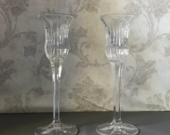 Pair of Candlestick Holders - Icicles by Mikasa - Crystal Candle Holders - Vintage Home Decor - Taper Candle Holders