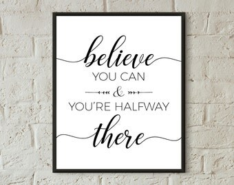wall prints download motivational quotes printable wall art black and white believe you can typography print teen room decor success quote