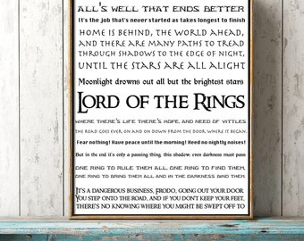 Apartment Decor, LOTR Quote, JRR Tolkien Book Quote Print, Typographic Wall Decor, LOTR Art, Lord of the Rings Subway Style Picture