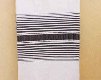 Blanket plaid striped degraded 204x260cm woven pure cotton hand loom