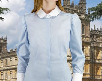 Edwardian Blouse in Powder Blue