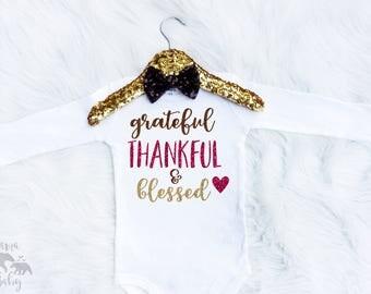 Baby Girl's Grateful Thankful And Blessed Onesie - Thanksgiving Onesie - Halloween Onesie - Thanksgiving Shirt - Pumpkin Shirt - Fall Onesie