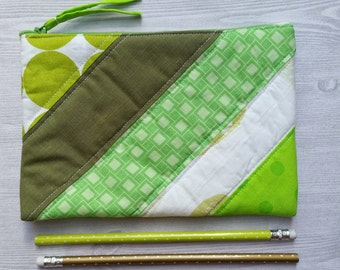 Diagonal Scrappy Quilted Zipper Pouch, Medium Scrappy Green