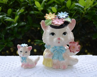 Ceramic Mother Cat and Kitten, Mama Cat with Flower Hat and Purse, Shopping Cat and Kitten with Flowers, Vintage Ceramic Cats