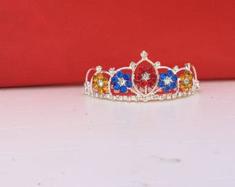 Snow White Flower Tiara, Toddler Snow White Crown ,Princess Snow White Gold & Red Tiara, Snow White Rhinestone Tiara