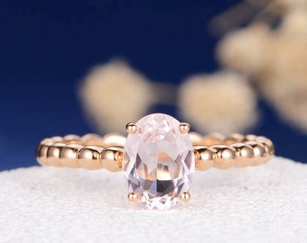 Morganite Engagement Ring Oval Cut Morganite Rose Gold Ring Beaded Eternity Minimalist Pink Anniversary Promise Graduation Gift Women Simple