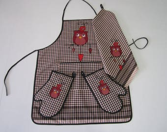 Apron & accessories patcwork, kitchen accessories, fardero, farcell, OWL apron fabric, fabric gift personalized gift originates
