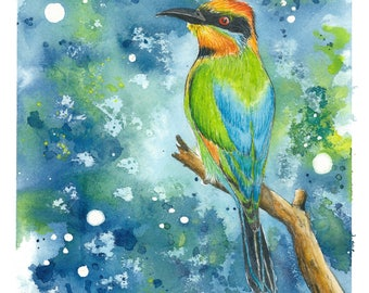 "Rainbow Bee-eater || Original Watercolour Painting, Size A4 8.3"" x 11.7"", Australian Art, Watercolor Bird Painting, Rebecca Phillips Art"