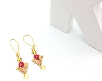 CHOTEE earrings coral and gold, hand weaving