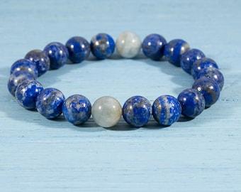 ON SALE, Lapis Lazuli, Aquamarine, bracelet, beaded bracelet, natural, semiprecious stone, gift, women, men, jewelry, custom