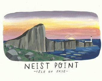 Original painting Neist Point Isle of Skye picture a5 size