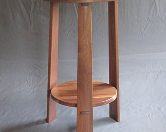 Wood Furniture. Solid Walnut Three Leg End Table, Plant Stand, Stool with Handcrafted Joinery. Any Room. Gift.